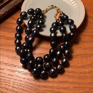 Black onyx beaded choker necklace